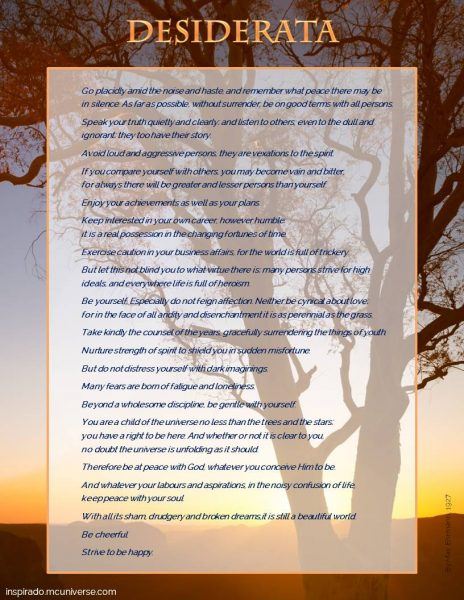 Do You Remember the Desiderata Poem?