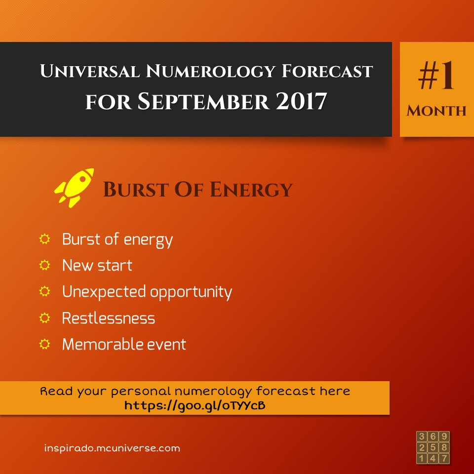 Burst of Energy – Sept 2017 – Numerology Forecast