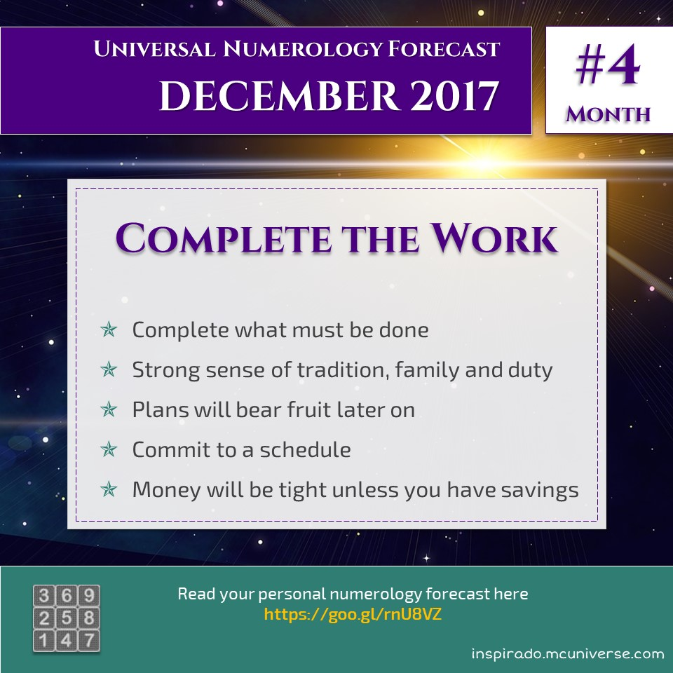 Complete the Work – Dec 2017 – Numerology Forecast